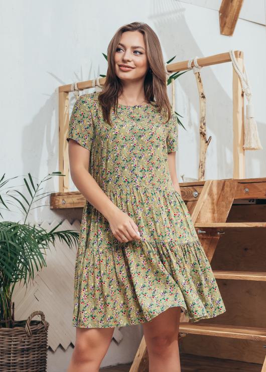 Платье Селин оливковое с цветочным принтом