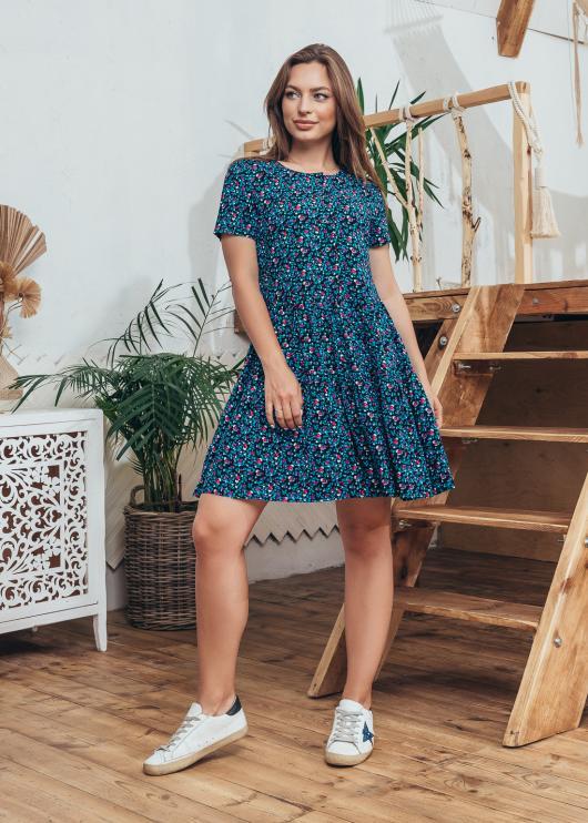Платье Селин синее с цветочным принтом