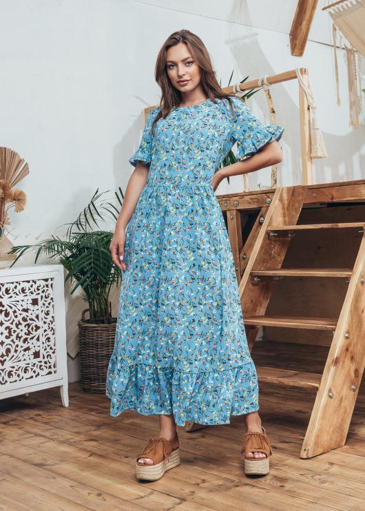 Женское летнее платье Мира голубое с принтом