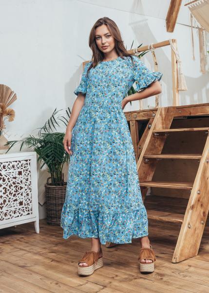 Платье Мира цвет голубой с принтом