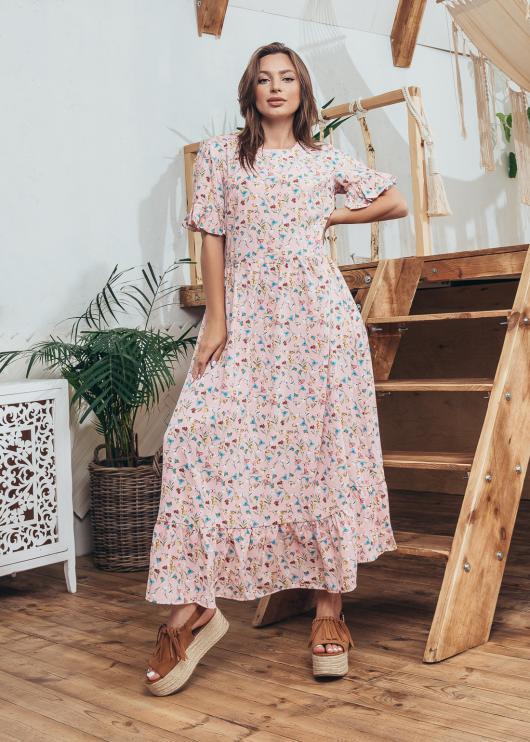 Платье Мира цвет светло-розовый с принтом