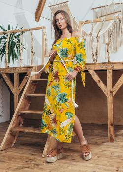 Женское летнее платье Мара желтое с оливкой
