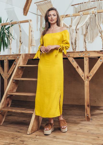 Женское платье Мара цвет желтый с белым