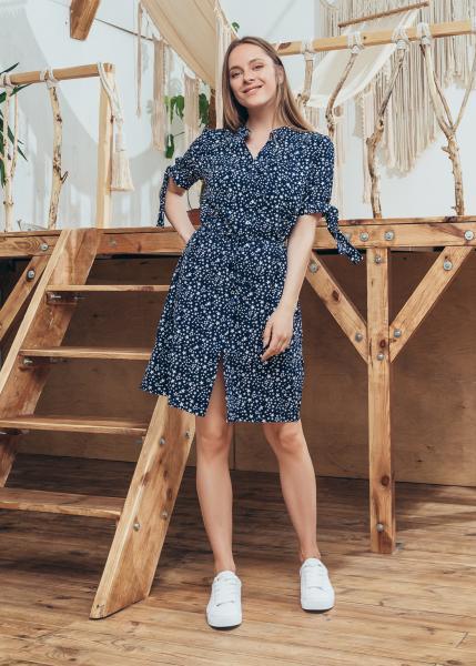 Платье Инга цвет темно-синий принт звезды