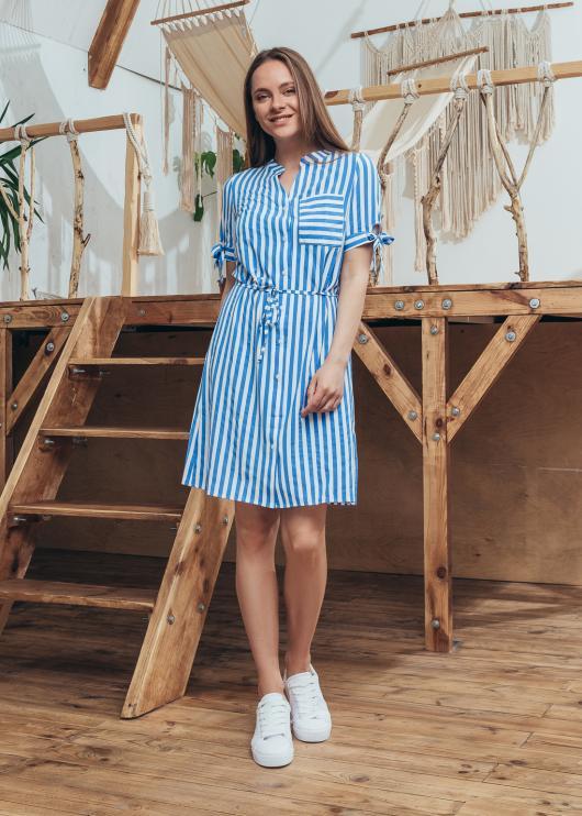 Платье Инга цвет синий с белым принт полоса