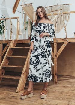 Женское летнее платье Мара черное с белым