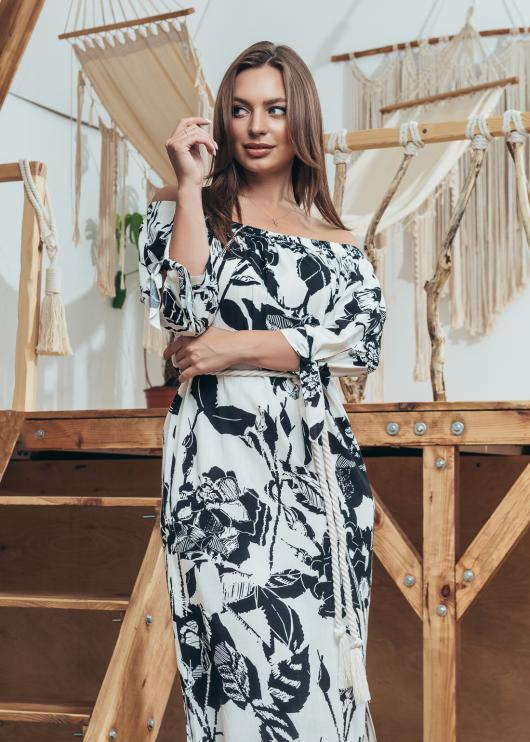 Женское платье Мара цвет черный с белым