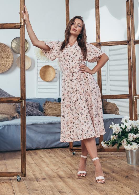 Платье летнее Мия светло-розовое с цветочным принтом