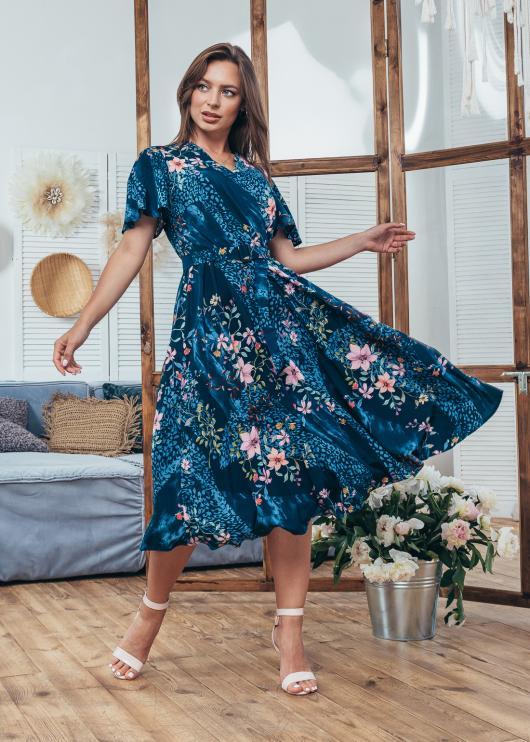 Платье летнее Мия синее с цветочным принтом