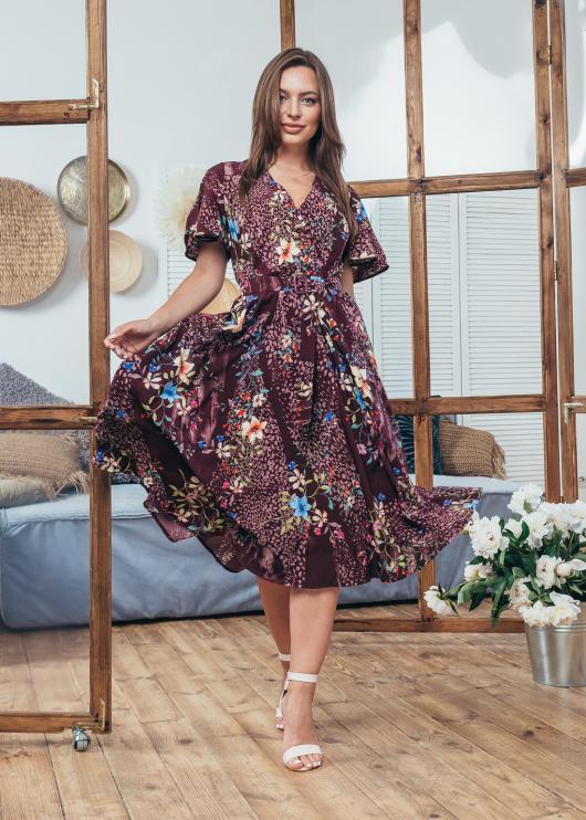 Платье летнее Мия бордовое с цветочным принтом
