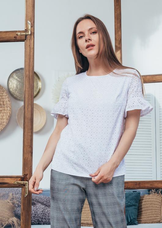 Женская блузка Мира прошва белая