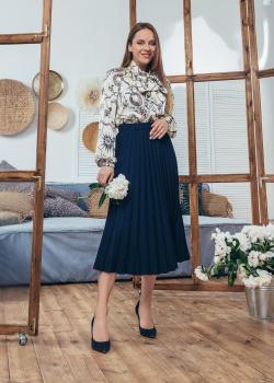 Женская юбка плиссированная Солье цвет темно-синий