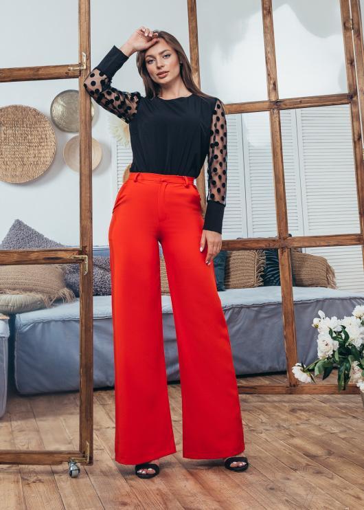 Женские брюки клеш красные