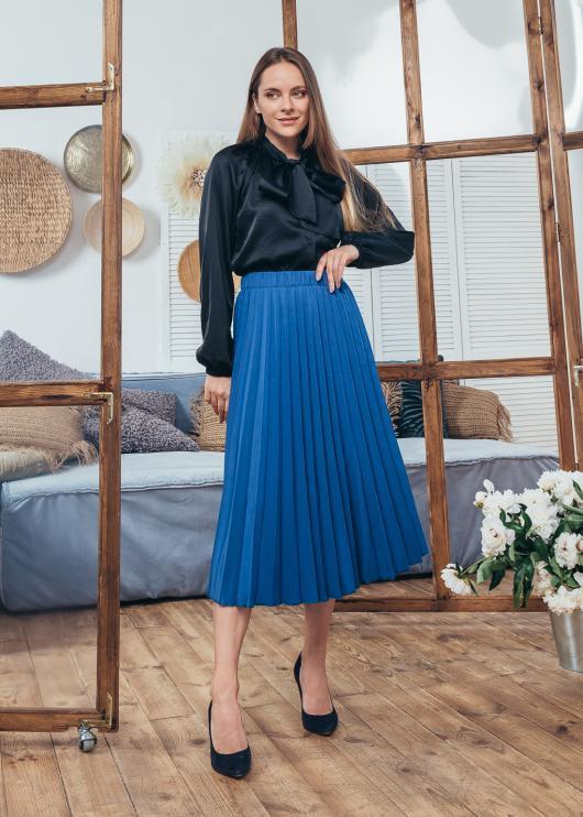 Женская юбка плиссированная Солье синяя
