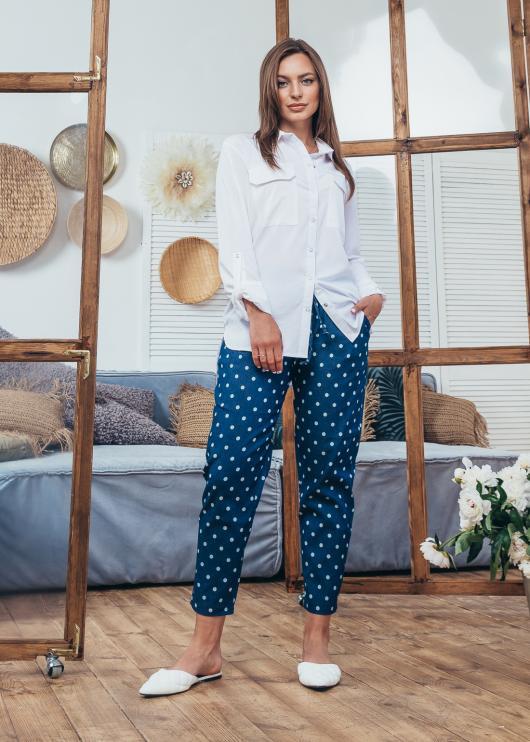 Женские джинсовые брюки синие в горох