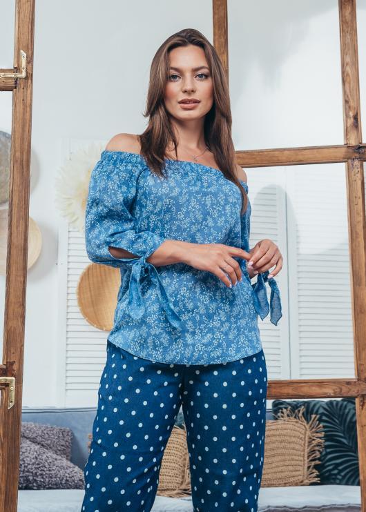 Женская блузка Мара синяя с принтом