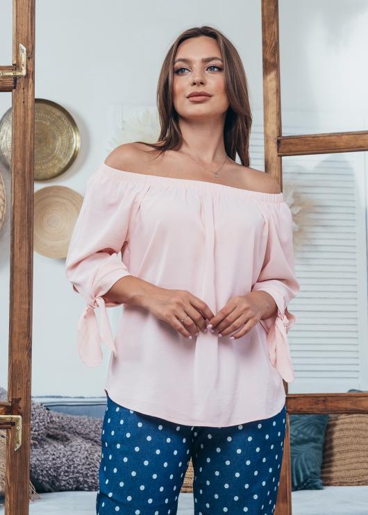 Женская летняя блузка Мара светло-розовая