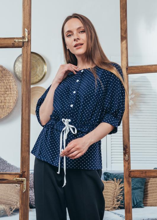 Женская блузка Герда цвет темно-синий с принтом мелкий горох