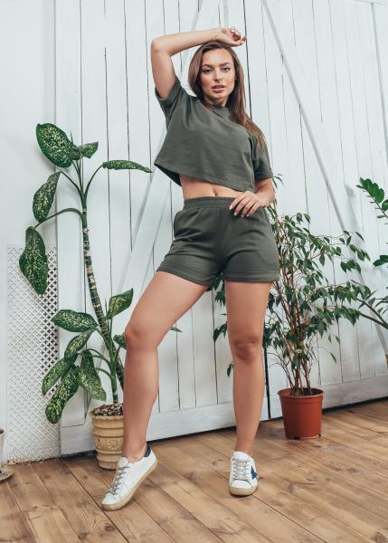 Женский летний костюм Спорт оливковый