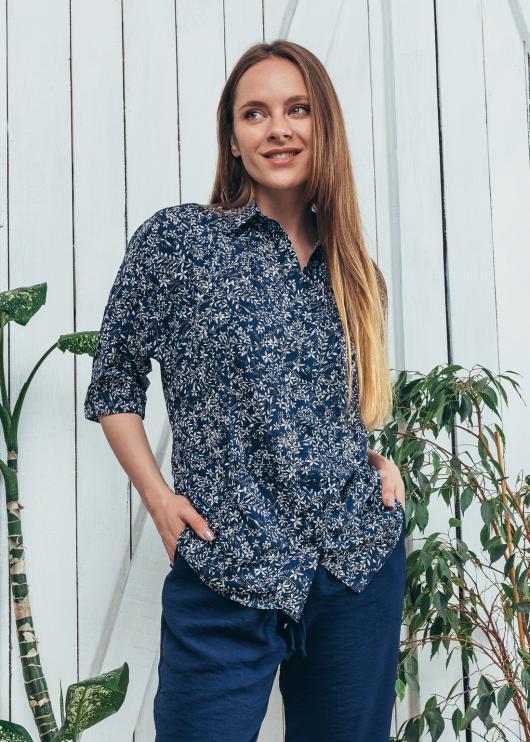Женская летняя блузка Марфа с принтом