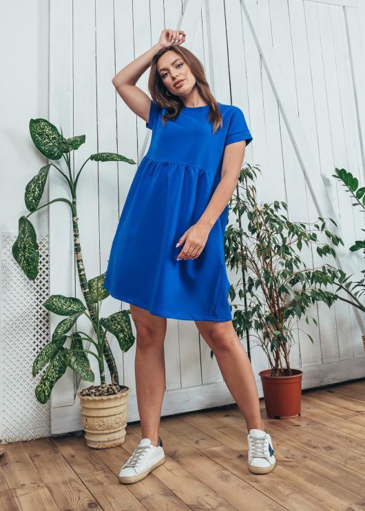 Женское летнее платье спорт ярко-синее