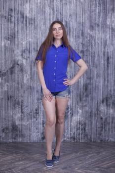 Рубашка Слава с коротким рукавом синяя