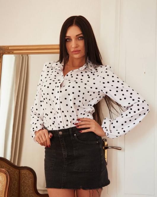 Рубашка Рита цвет белый с принтом горох
